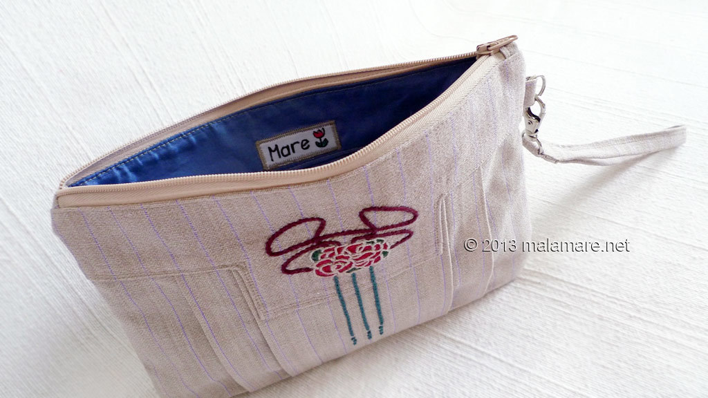 Art Deco inspired linen clutch bag inside