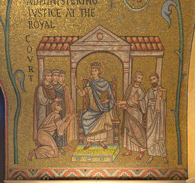 Cathedral Basilica of Saint Louis, in Saint Louis, Missouri, USA - mosaic 4 in Narthex - Administering Justice at the Royal Court