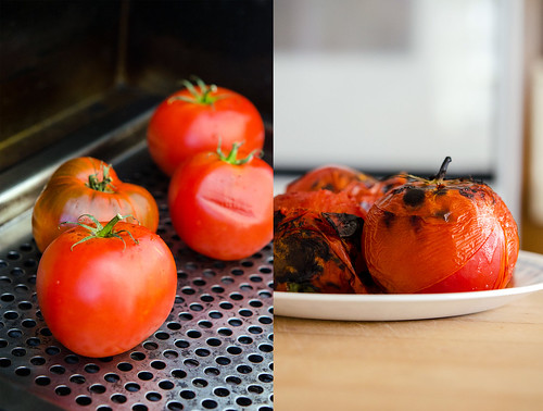 Tomatoes being charred on a grill