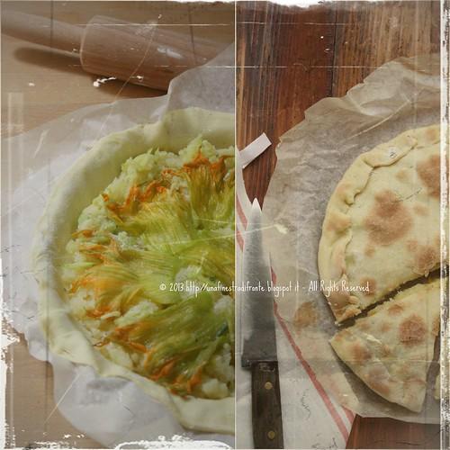 Torta rustica con patate, zucchine e fiori di zucca