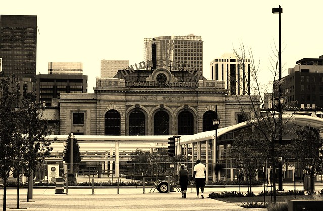 union station in sepia tones