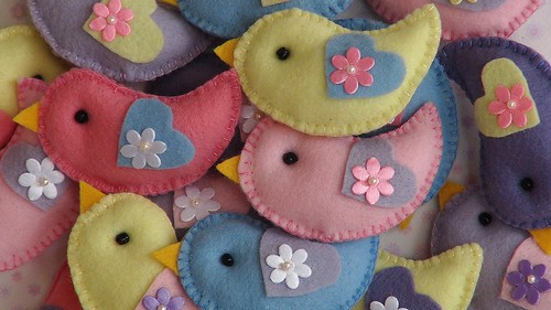Passarinhos em feltro by Cute for Baby by Mirian Rezende