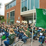 hmc013 -- The Titan Band performed in front of State Farm Hall.