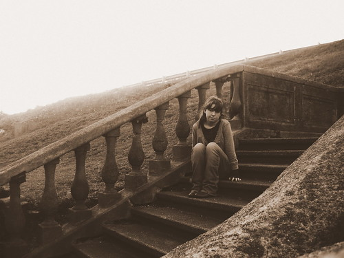 woman girl sepia stairs steps young historic missouri depot poplarbluff