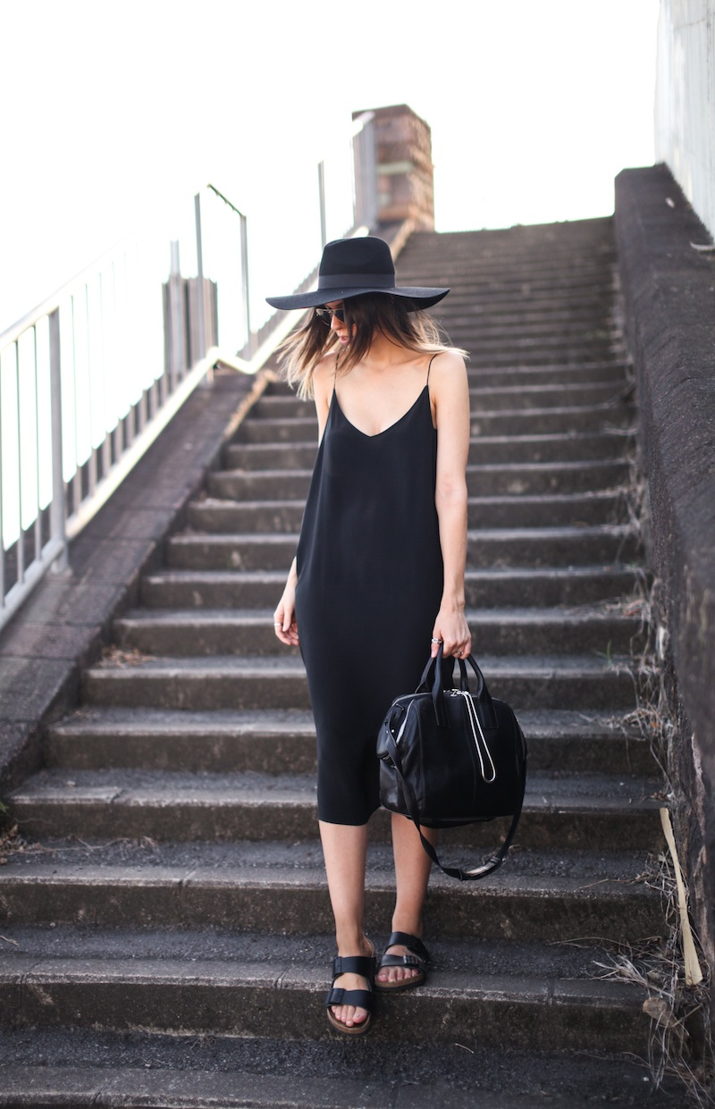 modern legacy fashion blog ysl hat wide brim topshop silk cami slip dress street style inspo details monochrome trend vera xane black white birkenstock (2 of 9)