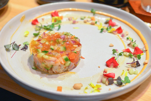 blue shrimp tartare