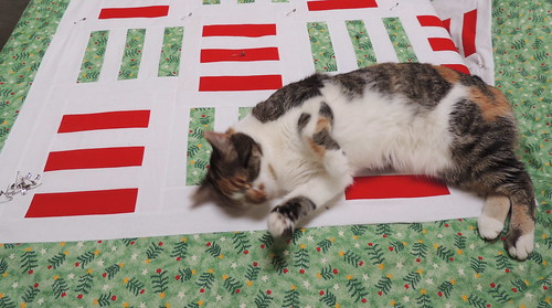 Grace Hopper helps baste the quilt