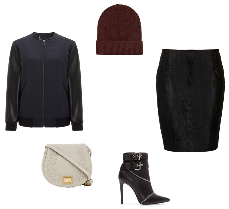 Whistles Harlow varsity bomber Topshop Boutique pony skirt Zara zip boots