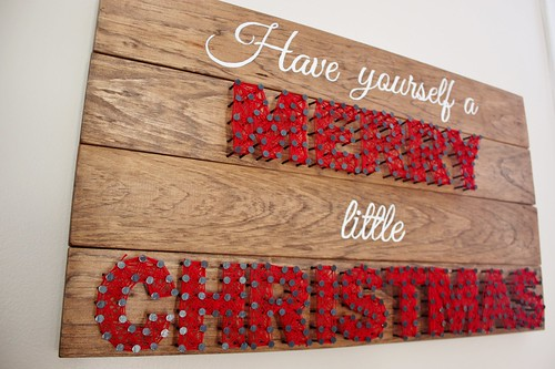 Wooden christmas sign with string art life at cloverhill wooden christmas sign with string art solutioingenieria Images