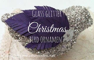 glass glitter christmas bird ornament