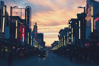 Sunset on Granville Street