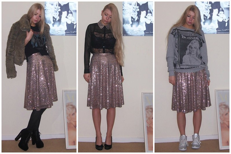 Primark, AW13, Sequin Midi Skirt, Gold, High-Waisted, How to Wear, New Look, Faux Fur Jacket, David Bowie T-Shirt, Sequin Collar, Sheer Lace Shirt, Boohoo, Lita Dupes, Sequin Court Shoes, Blondie Sweatshirt, Sports Luxe, Sam Muses, UK Fashion Blog, London Style Blogger, Outfit Ideas, Styling Ideas