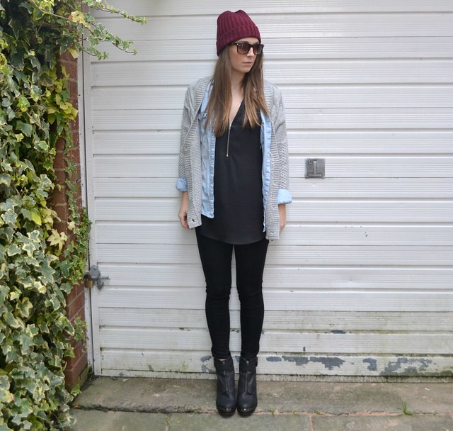 F&F top, denim shirt and office boots