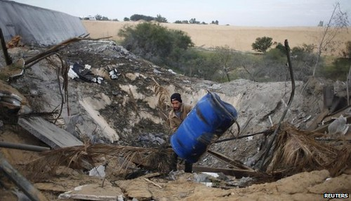 Gaza bombing damage on January 16, 2014 when the Israeli Air Force pounded the area. Israel makes periodic attacks against the Palestinians. by Pan-African News Wire File Photos