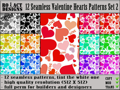 Seamless Valentine Hearts Patterns Set 2 Poster