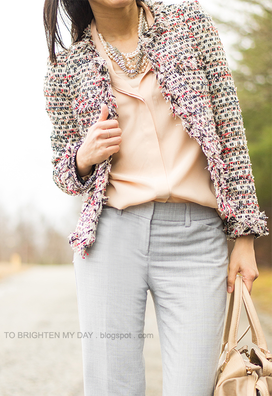 tweed jacket, mixed pearl necklace, nude blouse, gray trousers