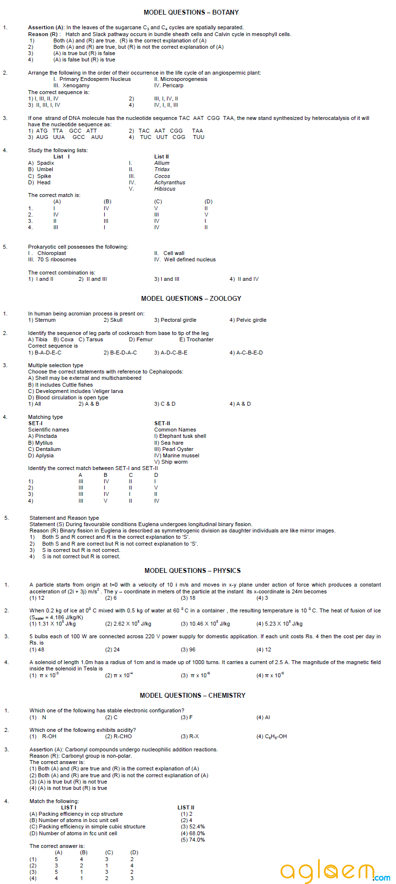 EAMCET 2014 Sample Question Paper in sample papers eamcet  Category
