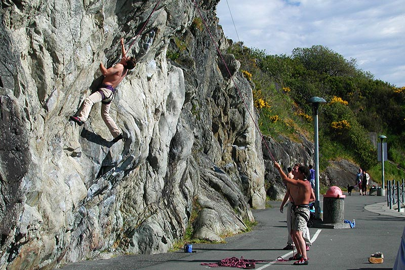 Rock Climbing at Fleming Beach, Esquimalt, Victoria, Vancouver Island, British Columbia, Canada