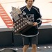 Los Angeles Kings Justin Williams with his Conn Smythe Trophy at 2014 Stanley Cup Championship Rally