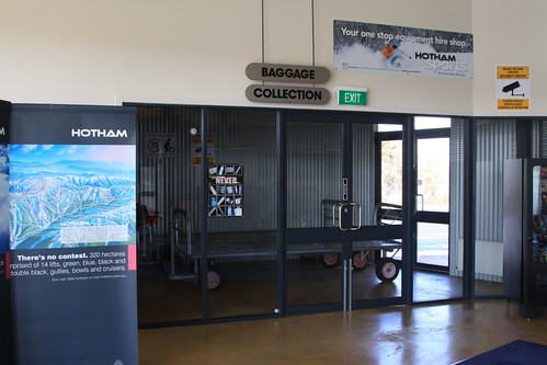 Baggage collection area at Mount Hotham Airport