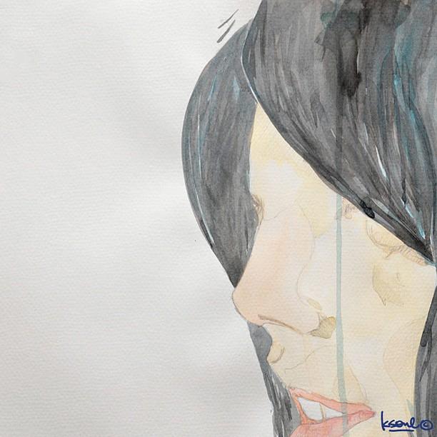"random portrait: ""The Secret Garden"" 520x 380mm water and dream on paper. ks©2011"