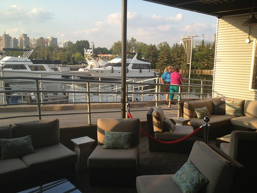 modular wicker patio furniture at AMEX lounge