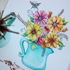 Floral w Turquoise Vase