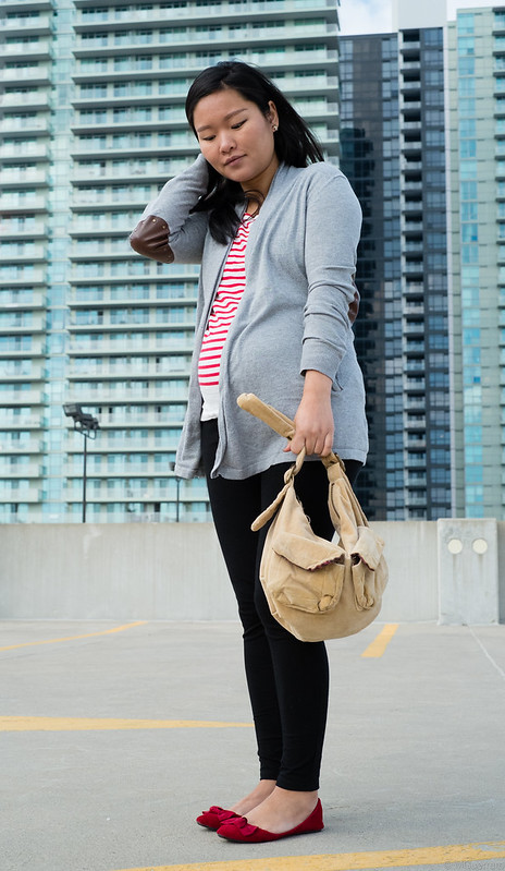RWCo elbow patch cardigan, JCrew stripe shirt, Gap purse