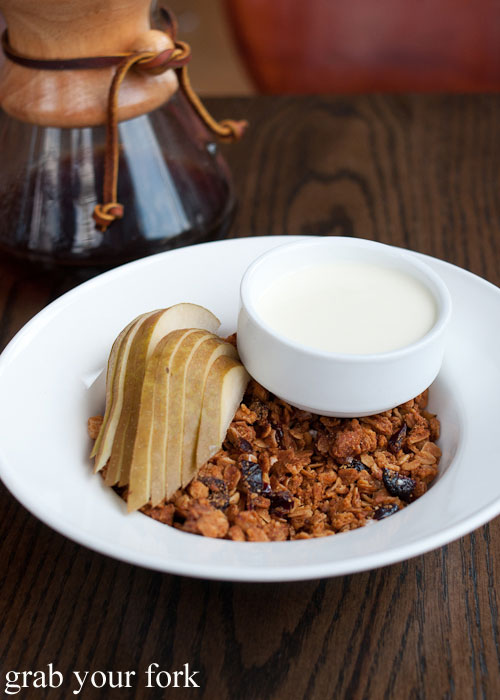 housemade maple cinnamon granola almonds yoghurt pears breakfast Nightwood Chicago Illinois
