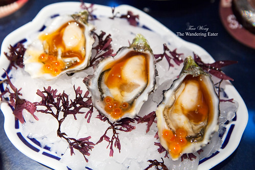 Course 13: Oysters (from Brittany) topped with ponzu sauce and salmon roe