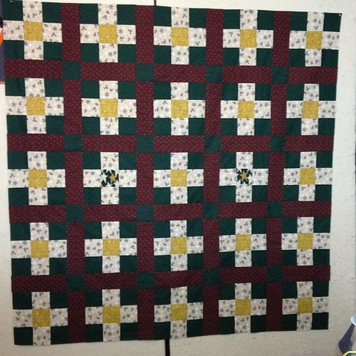 "And another Christmas quilt top done! 57"" x 57"" now to check to see if I have enough batting so I can baste it."
