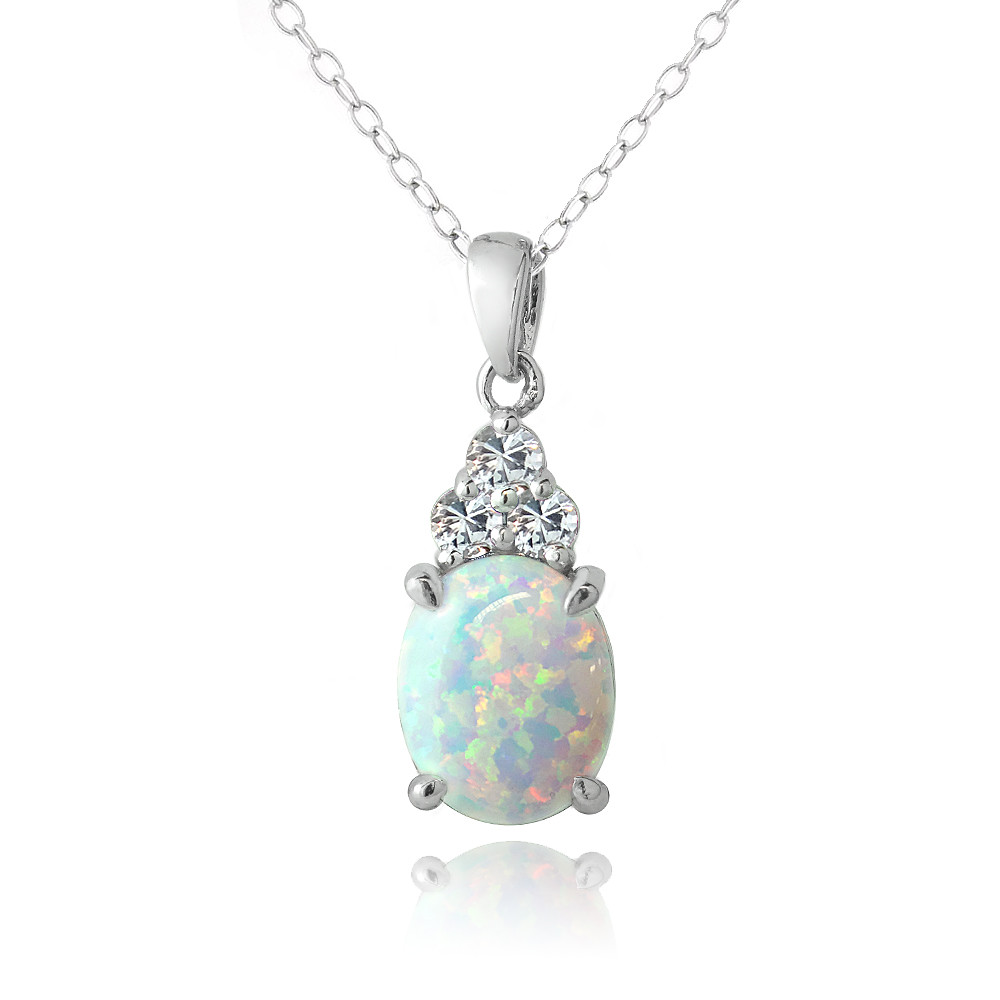 Sterling Silver Created White Opal & White Sapphire Oval ...