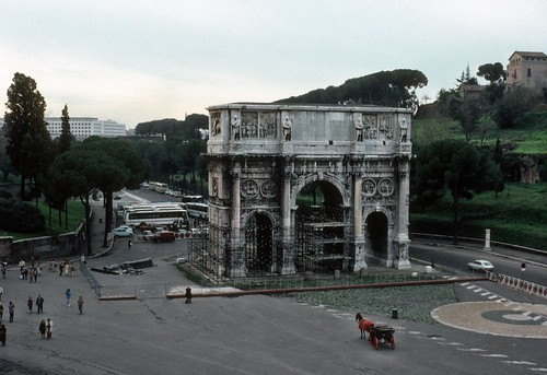 Arch of Constantine (under restoration) from Coliseum, Rome (1980)