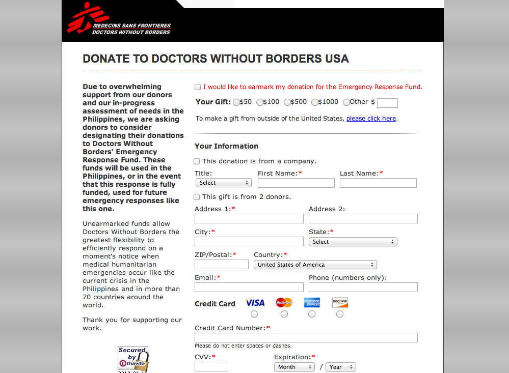 Doctors Without Borders donation