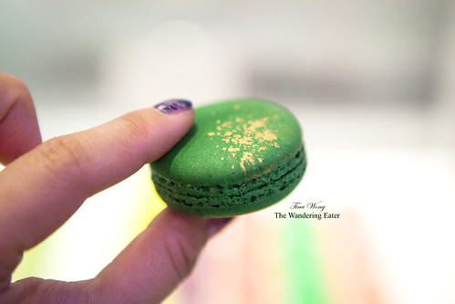 My pistachio macaron dusted in edible gold