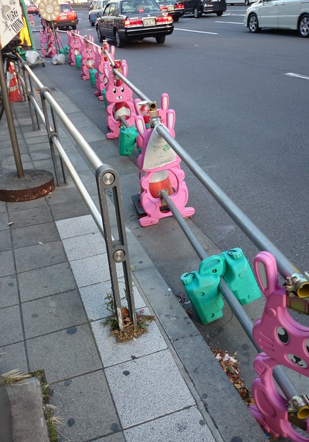 pink rabbit traffic cones