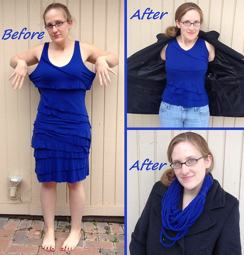 Cobalt Blue Dress into Tank and Scarf - Before & After