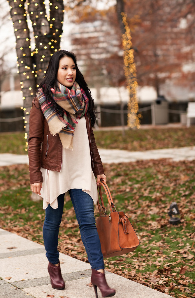 cute & little blog | cognac leather moto jacket, zara tartan plaid scarf, flowy sweater, skinny jeans, wine ankle boots, emilie m satchel outfit | layers