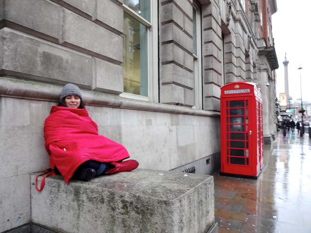 Red coat, red telephone boot