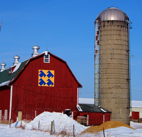 Red Barn with Quilt and Silo