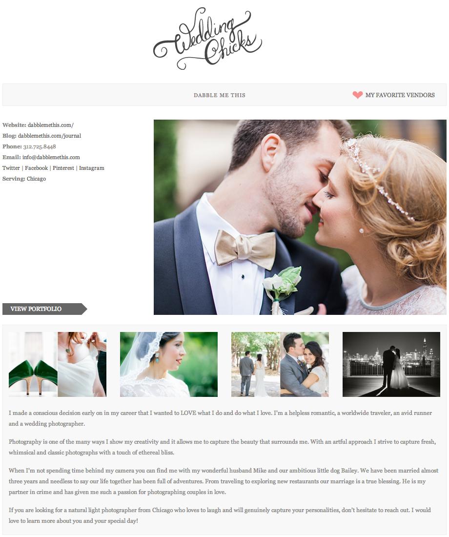 Wedding Chicks Vendor Page