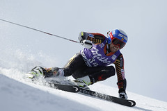 Dustin Cook competes in the giant slalom in Adelboden, SUI