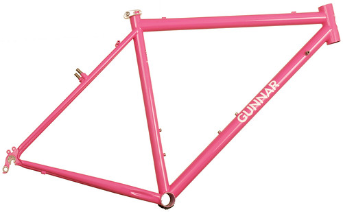 <p>Gunnar CrossHairs Custom Bicycle Frame painted Pink Panther with White Gunnar Bullseye decals.</p>