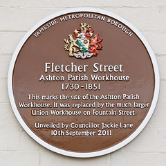 Photo of Ashton Parish Workhouse brown plaque