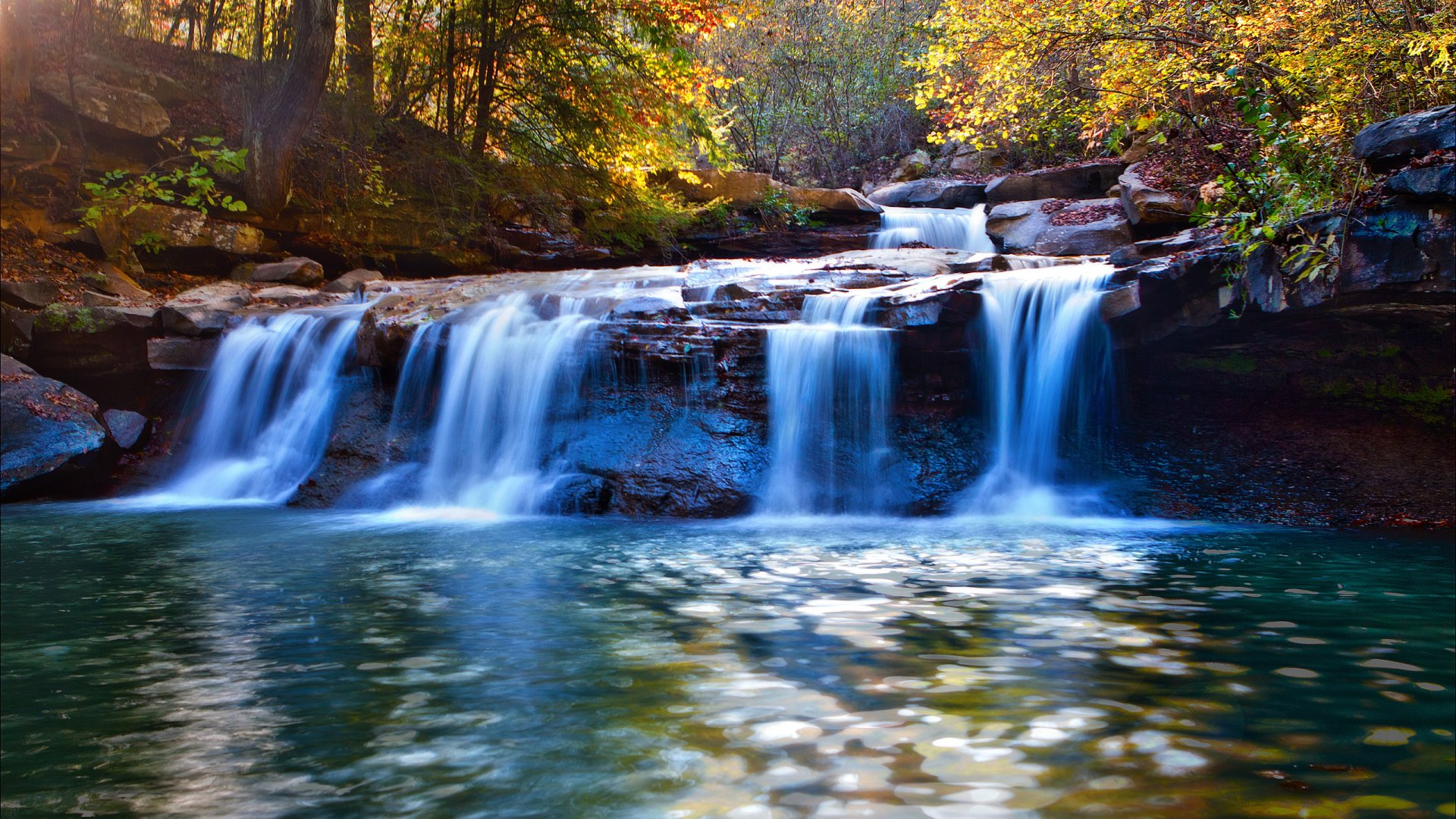 River Waterfall Autumn - Most Beautiful Waterfall Wallpapers for Desktop Background