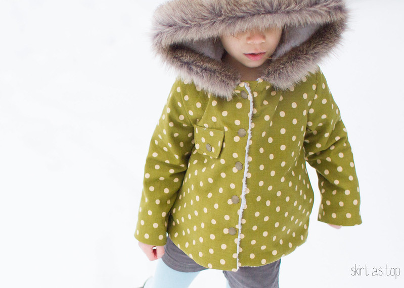 polka dot sherpa coat