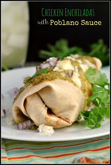 Chicken Enchiladas with Poblano Sauce 1