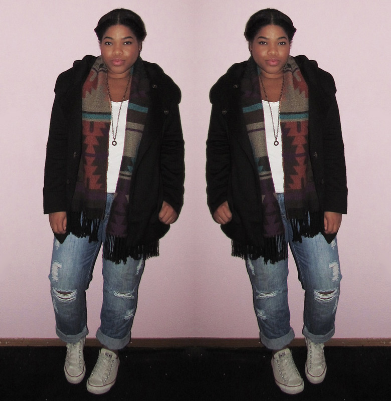 new look, zenana outfitters, outfit of the day, ootd, wiww, wiwt, converse, boyfriend jeans, braided hair, soho, vintage