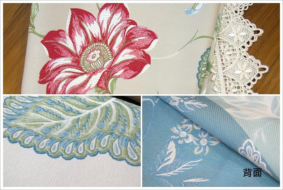 颜色:如图(米灰底色) 材质:色织缇花布料 内容物:桌布 ps:布边蕾丝为