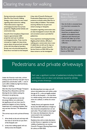 Glen Eira News, May 2014: Pedestrians